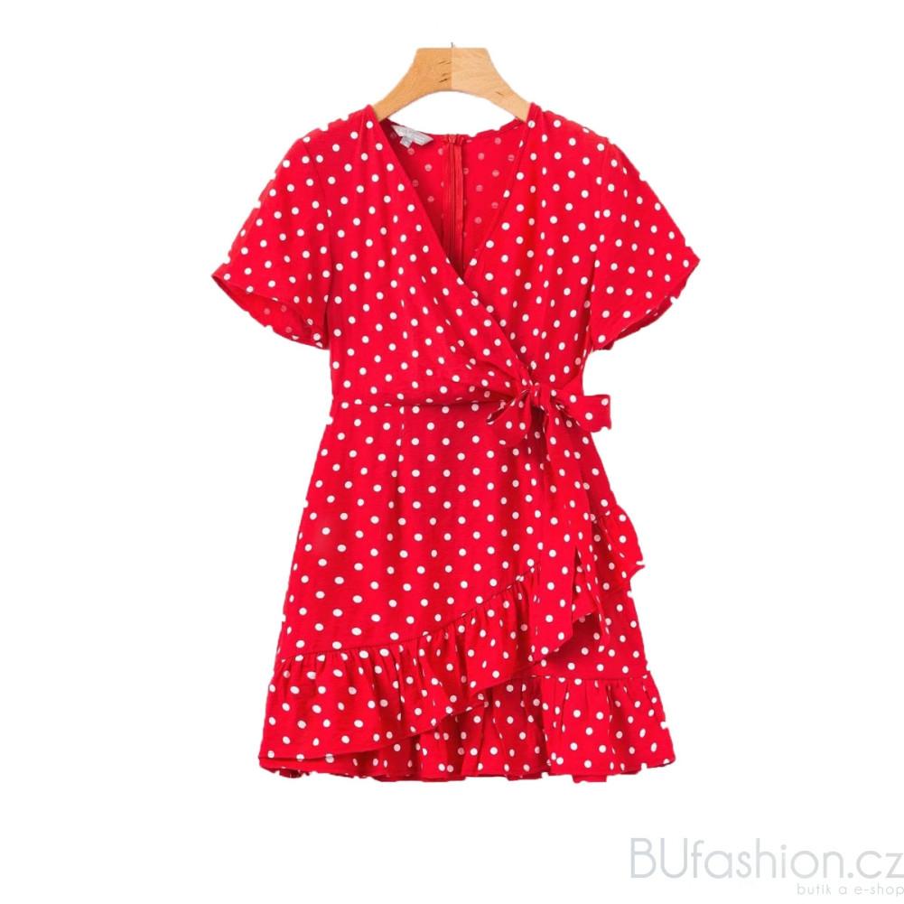 Červené zavinovací šaty s mašlí. BU110730. TEST. 1 199 443ed5aac51