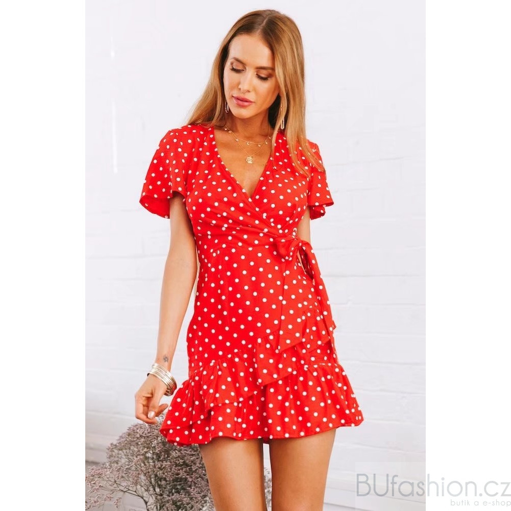 d472206884b4 Červené zavinovací šaty s mašlí