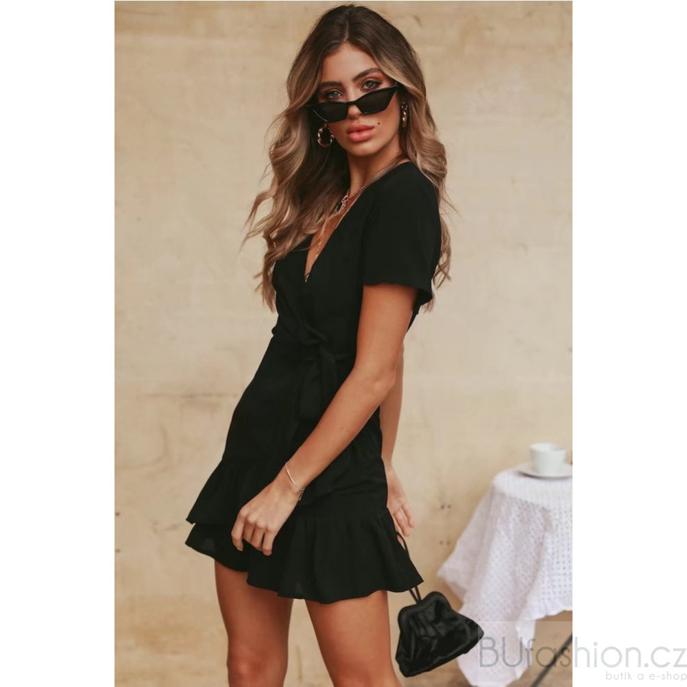 b982b517d29a Černé zavinovací šaty s mašlí