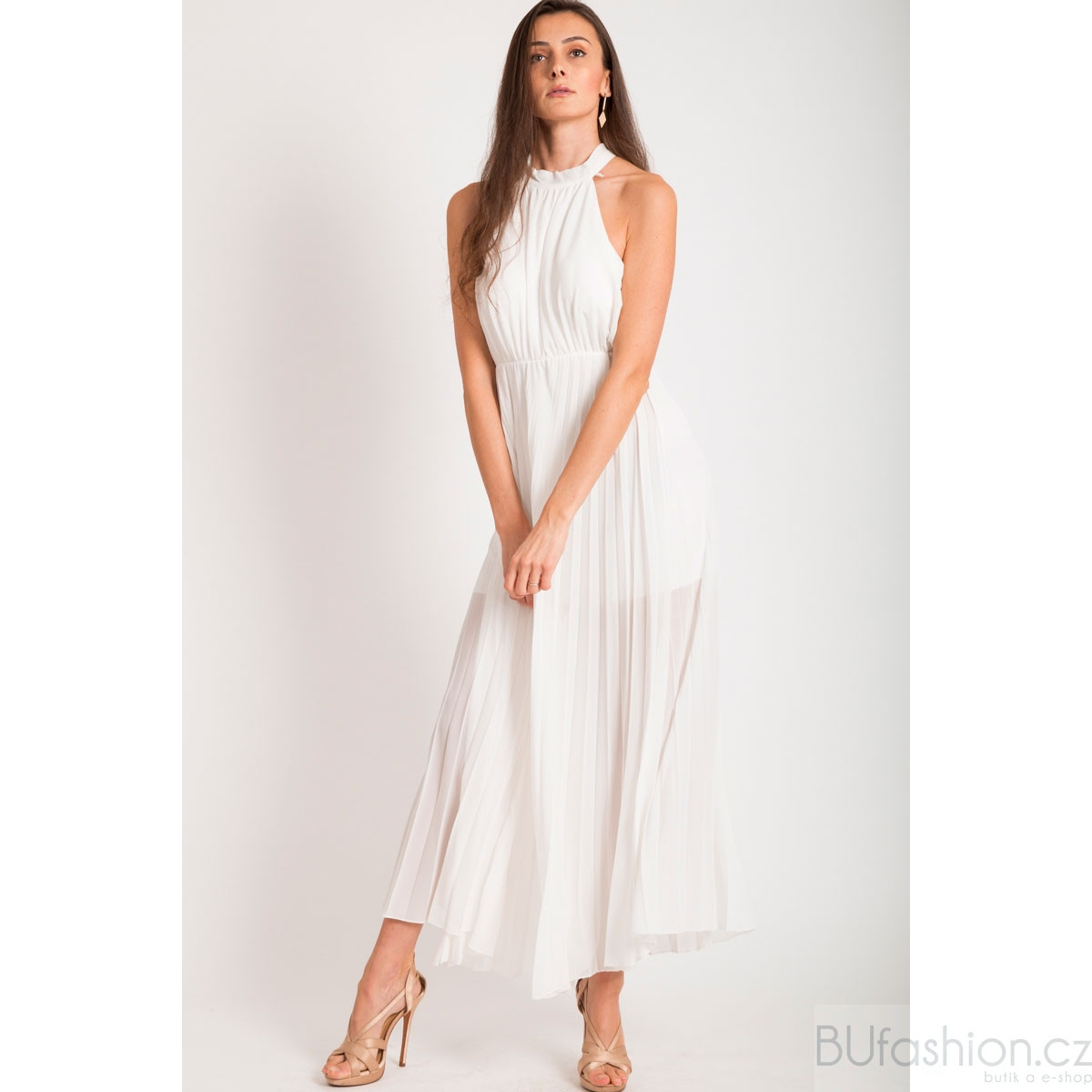 Bílé dlouhé plisované šaty. BU111190. TEST 9460d31cc3e