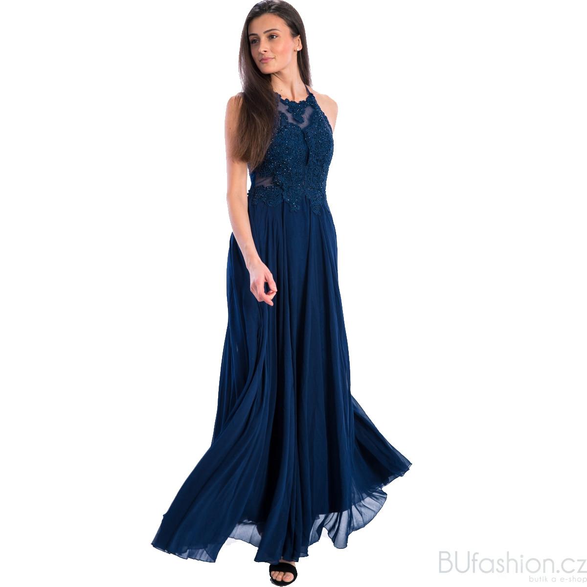 Modré dlouhé zdobené šaty 36c311fad05