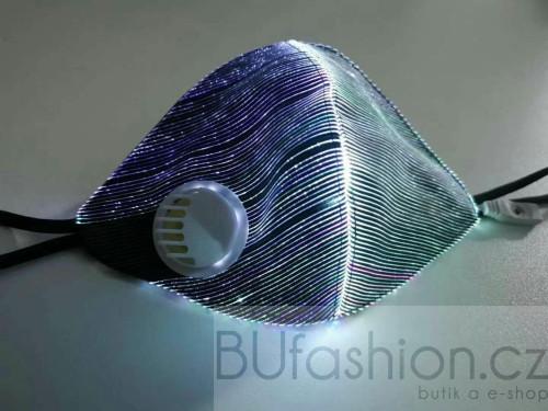 Metalická rouška se světelným efektem