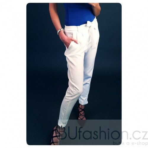 Plátěné kalhoty s mašlí