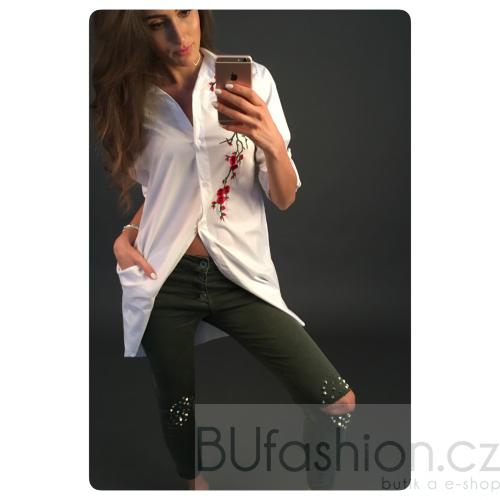 Kalhoty s kovovými aplikacemi - army - velikost M