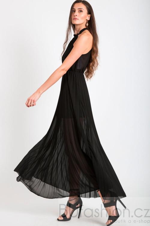 Černé dlouhé plisované šaty