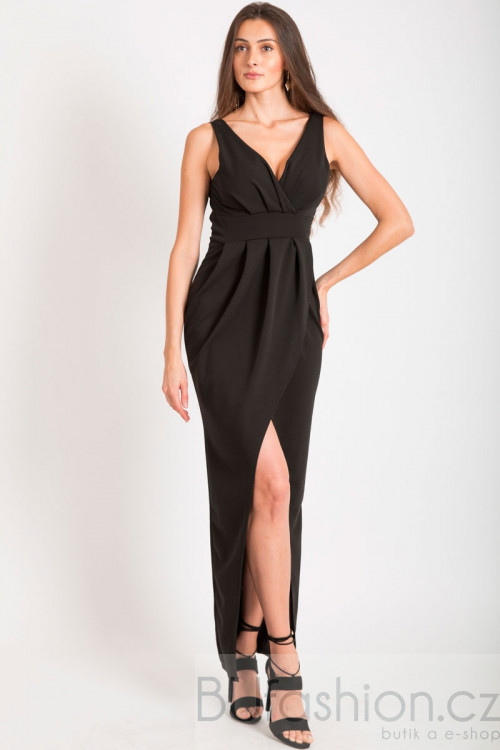 Černé dlouhé šaty s rozparkem