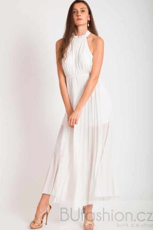 Bílé dlouhé plisované šaty