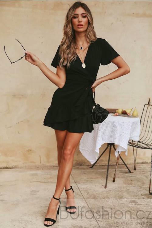 Černé zavinovací šaty s mašlí