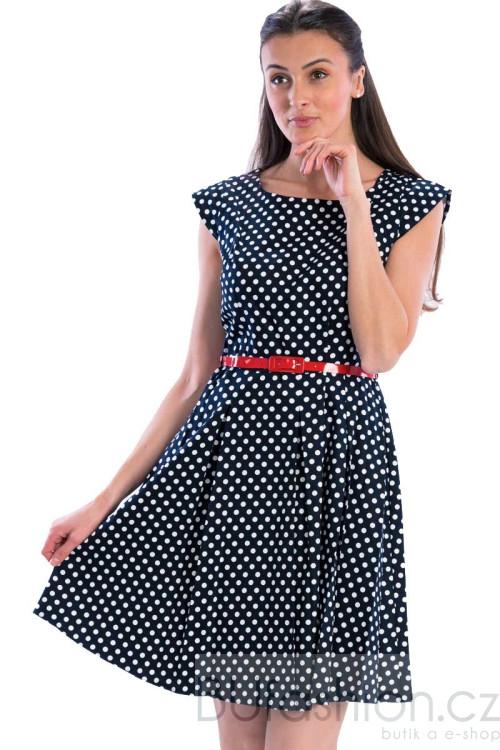 Modré puntíkaté retro šaty gotta