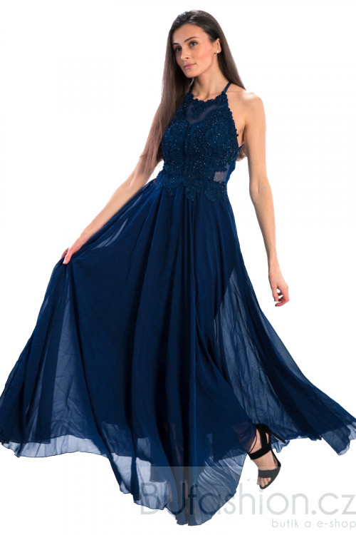 Modré dlouhé zdobené šaty