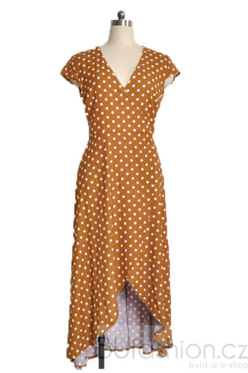Tmavě žluté midi šaty s puntíky