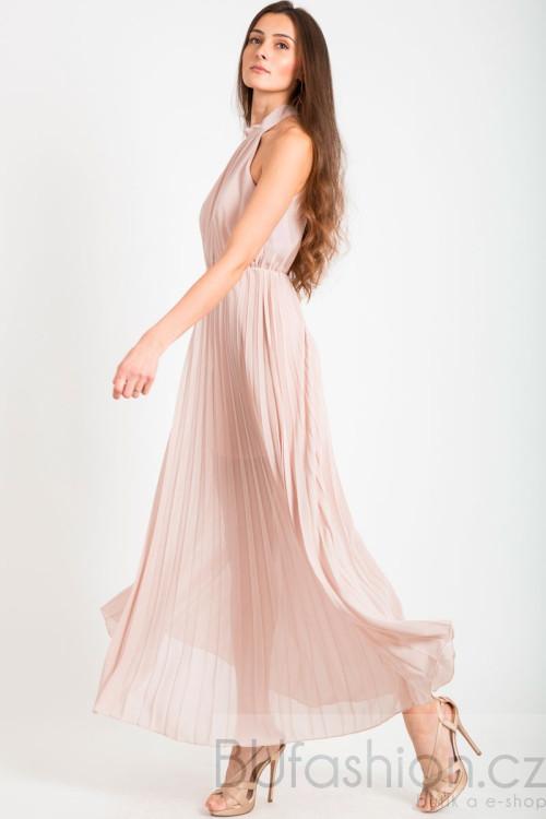 Růžové dlouhé plisované šaty