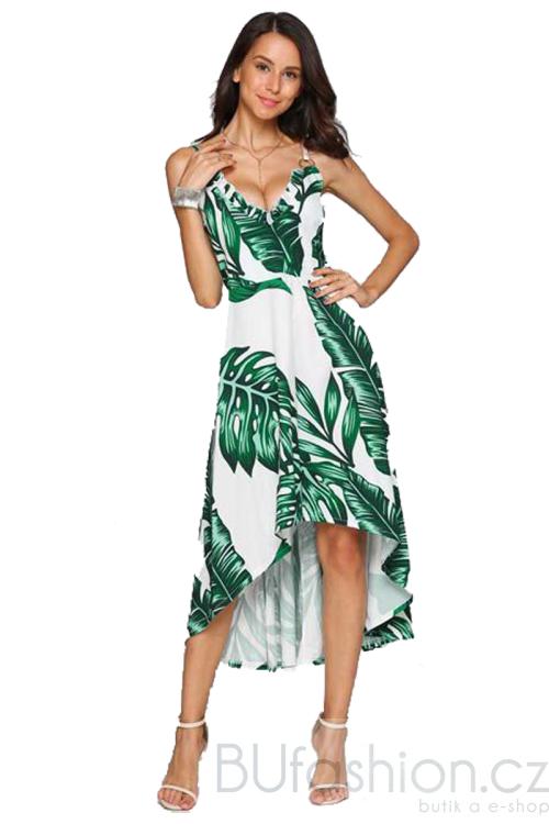 Zelené midi šaty se vzorem palmových listů