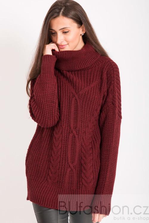 Vínový pletený svetr