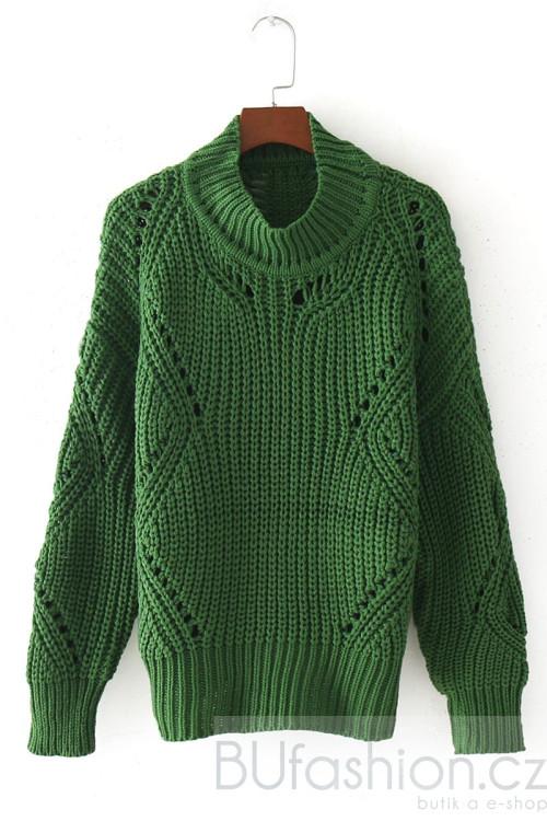 Zelený oversize svetr se zdobnými oky