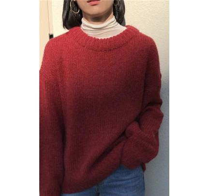 Červený jemný oversize svetr
