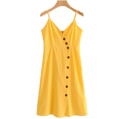 Žluté šaty na knoflíky