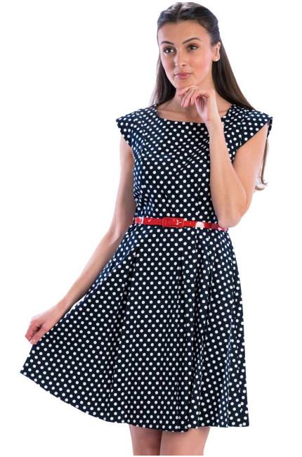 9f4a806f71a4 Modré puntíkaté retro šaty gotta