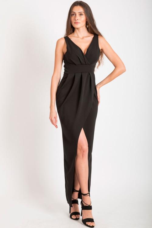 f002d864fd60 Černé dlouhé šaty s rozparkem